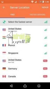 الدول المتاحة على تطبيق Turbo VPN