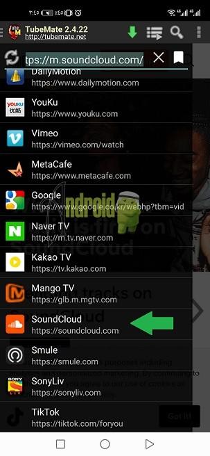 تحميل اغاني من الساوند كلاود 1 - Tubemate downloader APK